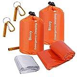 2 Packs Emergency Survival Sleeping Bags,Survival Sleeping Bag Includes Stuff Sack with Survival Whistle,Waterproof Thermal Emergency Bags Survival Gear for Outdoor Camping, Hiking, Wild Adventures