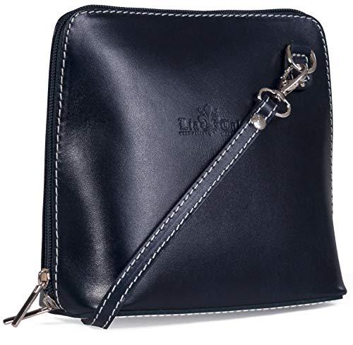 LiaTalia - Pequeño bolso de hombro crossbody para mujer de piel suave con bolsa protectora - ABBY - (Azul marino)