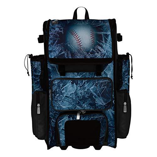 Boombah Superpack Hybrid Rolling Bat Bag - Frozen Black/White - Wheeled & Backpack Version