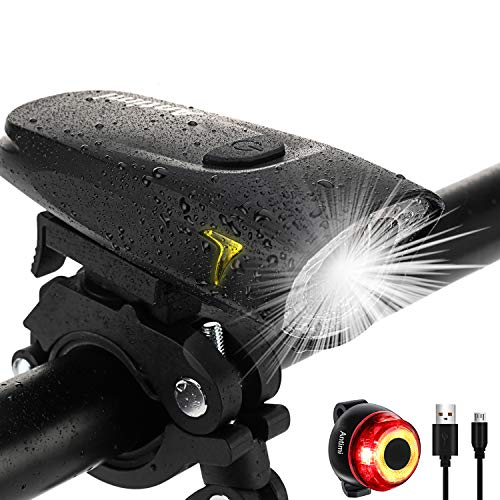 Antimi Bike Lights, USB Rechargeable Front Bicycle Light and LED Rear Bike...