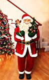 Fraser Hill Farm Red Life-Size Indoor Christmas Decoration, 5-Ft. Standing Santa Claus with Tree Wearing Velvet Suit w/White Fur Trim