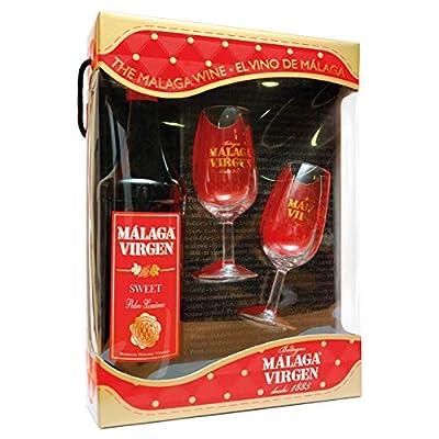 "Malaga Virgen Sweet 75cl Giftpack + 2 cups - Sweet liquor wine D.O.""Malaga"""