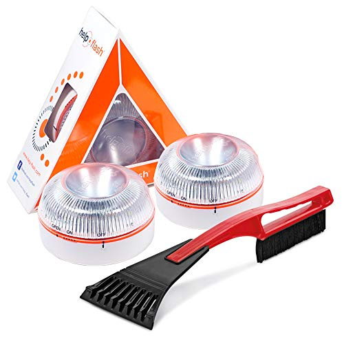 HELP FLASH x 2- luz emergencia AUTÓNOMA, señal v16 preseñalización peligro+linterna, homologada, DGT, base imantada, activación AUTOMÁTICA, y RASCADOR de hielo parabrisas rasqueta y cepillo