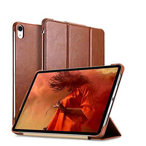 iPad Pro 12.9 2018 (3ª Generación) Funda de Piel auténtica para Apple iPad Pro 12.9 2018, Color marrón, iPad Pro 12.9 2018 (Tercera generación)