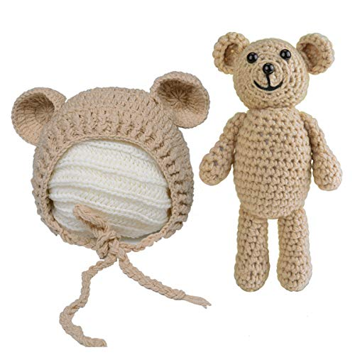 ISOCUTE Newborn Photography Outfits Baby Boy Girl Bear Hat Photo Shoot Prop Gift Khaki