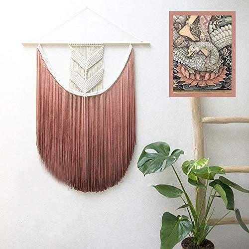 WL Bohemia - Tapiz hecho a mano, diseño de borla de algodón para colgar en la pared 50x70cm(20x28inch) c