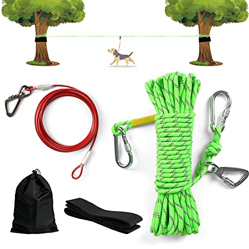 XiaZ Dog Tie Out Cable for Camping, 70FT Heavy Duty Trolley System with 10FT Runner Lead, Reflective...
