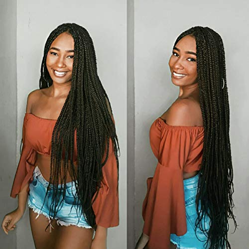6Packs 24/30 inch Long Box Braids Crochet Hair Extension Synthetic Hair Kanekalon Crochet hair Braids Crochet Box Braids Hair Synthetic Crochet Hair(30inch, 2#)