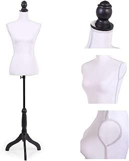 Sandinrayli White Female Mannequin Torso Dress Form Clothing Display w/Black Tripod Stand