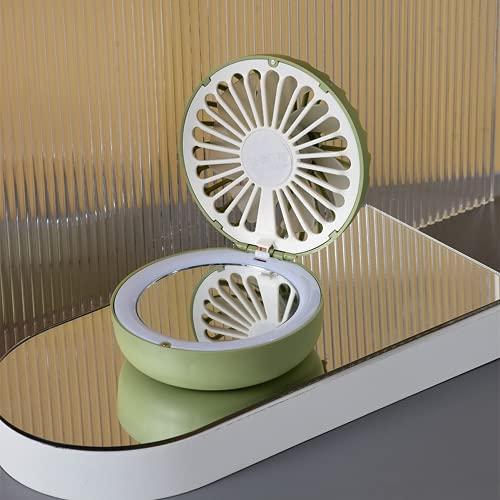 AHTOSKA Dibujos Animados Belleza Espejo Fan Chica Cargando portátil Estudiante USB Mini Ventilador de Bolsillo (Verde)