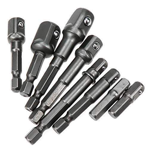 HONJIE Impact Grade Socket Adapter Set Hex Square Nut Driver Adaptor Power Drill Extension Bit (8Pcs)