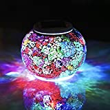 Solar Jar Glass Ball Table Light, Color Changing Solar Powered Crackle Glass Ball Led Garden Lights,Waterproof Led Night Light for Bedroom Yard Patio Halloween Christmas Decor (Multi-colored snowfake)