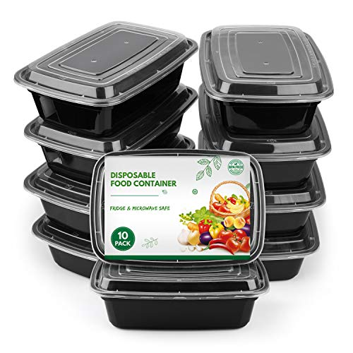 Meal Prep Containers Set 1 Compartment, Reusable Lunch Box Food Container, Microwaveable, Dishwasher, Freezer Safe Bento Food Storage Box (10 Pack)