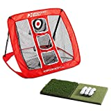 Rukket Pop Up Golf Chipping Net | Outdoor/Indoor Golfing Target Accessories and Backyard Practice Swing Game with 12 Foam Training Balls, Dual Turf Hitting Mat and Adjustable Rubber Tee