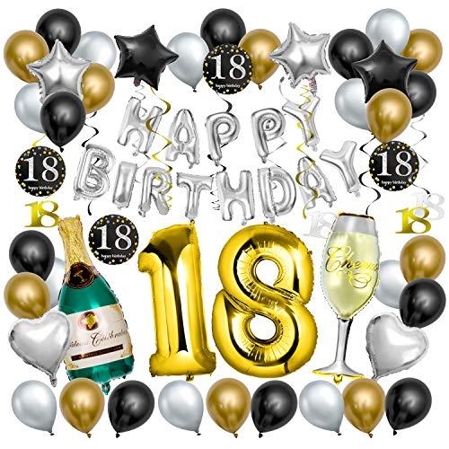 Decoración de la Fiesta de Cumpleaños 18 Años, Comius Sharp 65 pcs Negro y Dorado Balloon de Látex Colgando Remolinos Botella de Champán Globo para Cumpleaños de 18 Años Partido (18)