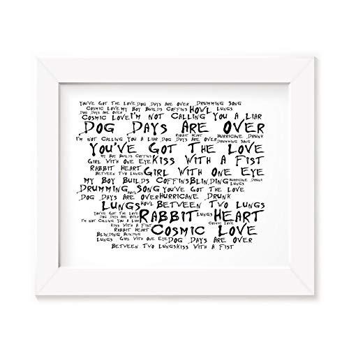 `Noir Paranoiac` Kunstdruck Poster - FLORENCE AND THE MACHINE - Lungs - Unterzeichnet und Nummerierten Limitierte Auflage Typografie Ungerahmt 25 x 20 cm Wand Kunst Druck Text Lyrisch Plakat - Song Lyrics Art Print Poster