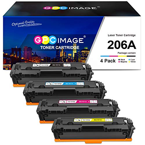 GPC Image Compatible Toner Cartridge Replacement for HP 206A 206X W2110A W2111A W2112A W2113A to use with HP Color Laserjet Pro M255dw MFP M283cdw M283fdw M282nw M283 M255 Printer Toner (4 Pack)