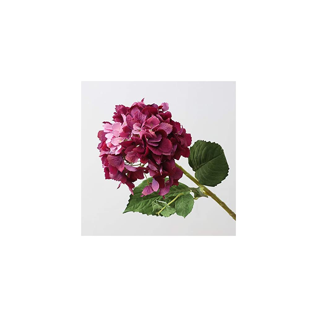 IQQI 3 Pieces of Fuchsia Artificial Hydrangea Flowers Bridal Wedding Bouquet, Home Garden Party Wedding Decoration