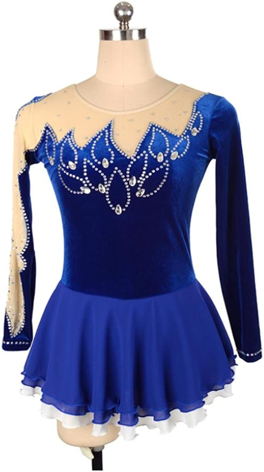 Heart&M Figure Skating Dress Women Girls' Ice Skating Competition Costume Velvet Stretchy Rhinestone Skating Wear Long Sleeve bluee