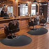 """Barber Shop Chair Mat 3′x5′ Anti-Fatigue Floor Mat Salon Mat - Black Semi Circle Salon Mat - 1/2"""" Thick Office Comfort Floor Mat"""