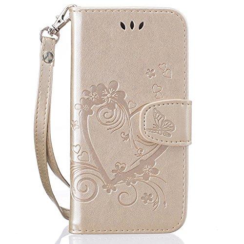 Tosim iPhone 8/7/iPhone SE 2020 Hülle Klappbar Leder, Brieftasche Handyhülle Klapphülle mit Kartenhalter Stossfest Lederhülle für Apple iPhone7/iPhone8 - TORXZ020028 Gold