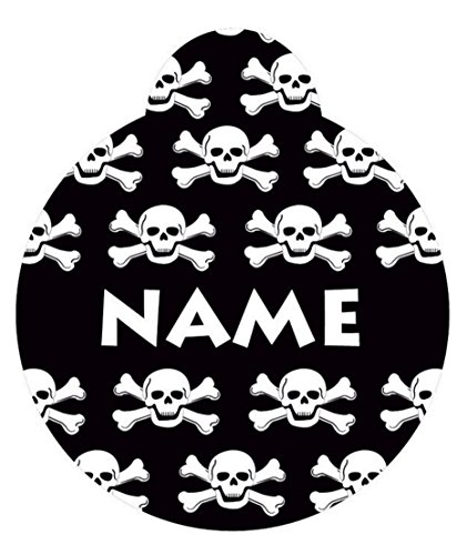 Yellow Dog Design 1.5' Black Skulls Personalized Hi-Def Pet ID Tag with Silencer, Large
