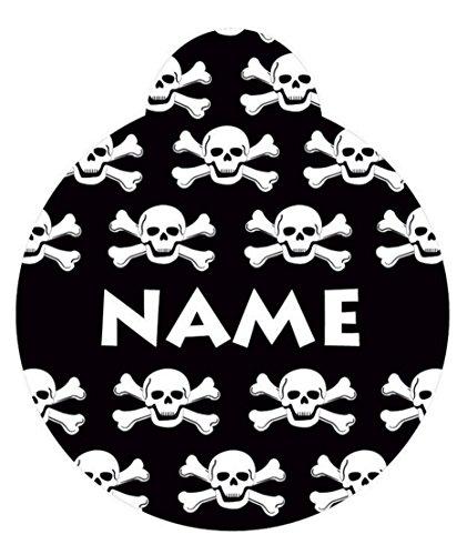 1.25' Black Skulls Personalized Hi-Def Pet ID Tag with Silencer, Medium, Yellow Dog Design
