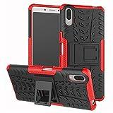 LFDZ Sony Xperia L3 Funda, Soporte Cáscara de Doble Capa de Cubierta Protectora Heavy Duty Silicona híbrida Caso Cover Funda para Sony Xperia L3 (No Encaja Sony Xperia L2),Rojo