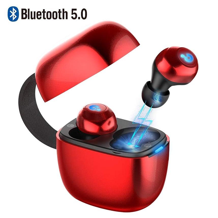 手まさに失態【2019最新版Bluetooth5.0 】ワイヤレスイヤホン 高音質 IPX6防水 自動ペアリング 超量軽 自動ON/OFF 電池残量インジケーター付き 3Dステレオサウンド 音楽再生合計約24時間 完全ワイヤレス 左右分離型 スポーツ 小型 マイク内蔵 両耳通話 インナーイヤー型 Bluetoothイヤホン 四回充電 V5.0+BLE TWS ブルートゥースイヤホン 充電式収納ケ ース/USB充電ケーブル付き 英語音声提示