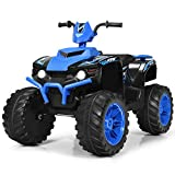 Costzon Ride on ATV, 12V Battery Powered Electric Vehicle w/ LED Lights, High &Low Speed, Horn, Radio, USB, Rear Wheel Motorized Ride on 4 Wheeler Quad Car for Boys Girls (Blue)