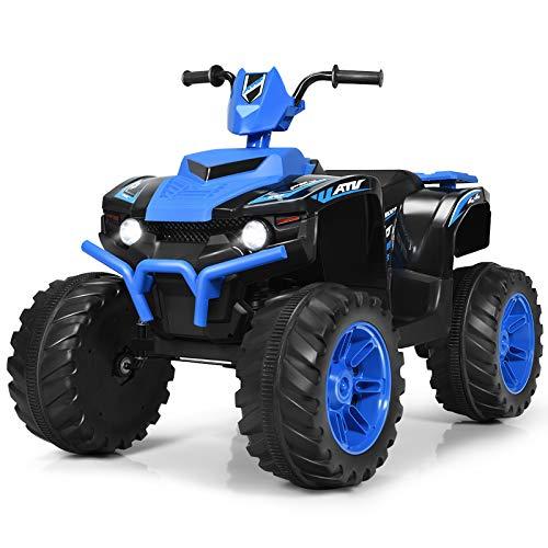 Costzon Ride on ATV, 12V Battery Powered Electric Vehicle w/ LED Lights, High &Low Speed, Horn, Radio, USB, Rear Wheel Motorized Ride on 4 Wheeler Quad Car for Boys Girls (Blue)