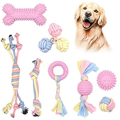 Ideal Home 8 Pcs Puppy Toys Dog Chew Toys Rope Toy Set, Puppy Teething Gel Chewing Toys Aggressive Chewers Interactive Puppy Toys from 8 Weeks