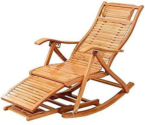 Tumbona Sillas reclinables para patio Silla mecedora de bambú Silla plegable Silla para siesta en...