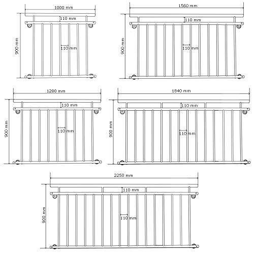 V2Aox Französischer Balkon Geländer Balkongeländer 90 x 100-225 cm Schwarz Weiß Anthrazit, Farbe:Weiß, Größe:225 x 90 cm