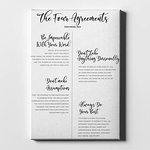Growth Self Love Four Personal Transformation Agreements The 4 I Top- Trendy & Modern Canvas Prints Decor for Dining & Living Room, Kitchen, Bedroom & Office