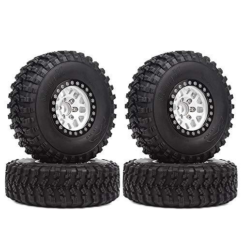 INJORA RC Crawler Reifen Set 1,9inch Reifen mit Beadlock Felgen 4pcs für 1/10 RC Crawler Traxxas TRX-4 Axial SCX10 90046 D90 MST (Schwarz & Silber)