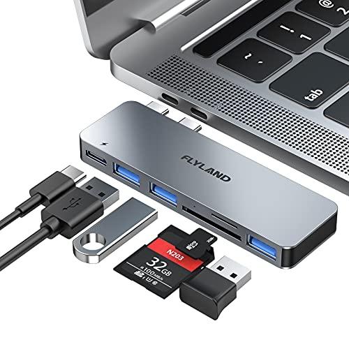 Hub USB C, adattatore hub tipo C, 3 porte USB 3.0, lettore di schede TF   SD, alimentazione USB-C, adattatore 6 in 1 in alluminio per MacBook Pro 13 ,Macbook Air 13″ 2018(grigio)