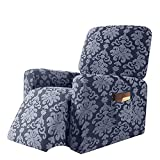 JHLD Stretch Recliner Slipcover, Jacquard Spandex Recliner Chair Cover with Elastic Bottom Soft Non Slip Sofa Slipcover Washable Furniture Protector for Kids Pets Cats Dogs-Blue-Recliner