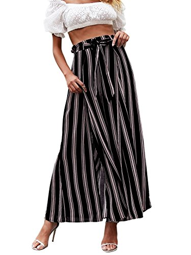 Simplee Women s Elegant Striped Split High Waisted Belted Flowy Wide Leg Pants  Black Stripe  1/7  Medium 8