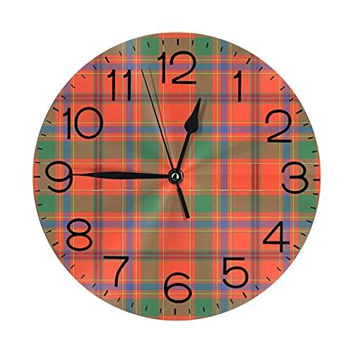 ZHENGYUAN Reloj de pared redondo de madera con número Muro Monroe, silencioso, no atado, 25 cm, cocina, dormitorio, oficina, escuela, decoración