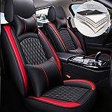Maidao 5 Cubreasientos de Asientos de Automóvil para Hyundai Kona EV Comodidad (Reposacabezas y Reposacabezas) Cuero Fundas Asiento Delanteros y Traseros Rojo Negro