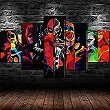 KOPASD Cuadro sobre Lienzo - 5 Piezas - Superhéroes Marvel DC - Ancho: 150Cm, Altura: 80Cm - Listo...