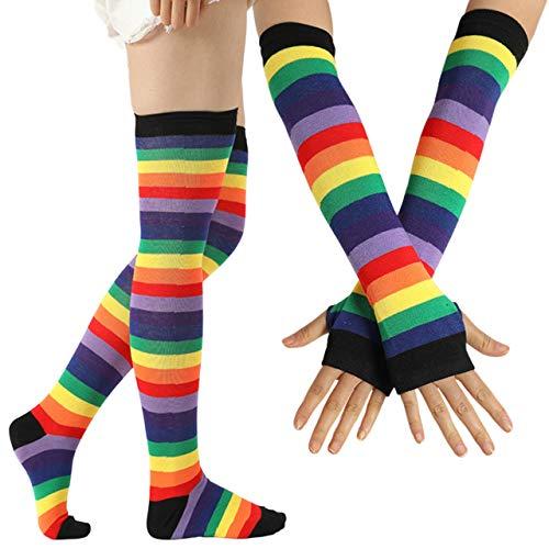 CHIC DIARY Fingerlose Armstulpen Kniestrümpfe Regenbogen Bunte Streifen Handschuhe Overknee Strümpfe Cheerleader Karneval Kostüm