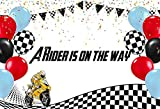 MEHOFOND Boy Baby Shower Backdrop Party Decoration Motorcyclist Motorcycle Biker Rider Blue Balloon Black and White Photography Backdrop Banner of Cake Table Photo Studio Props Vinyl 7x5ft