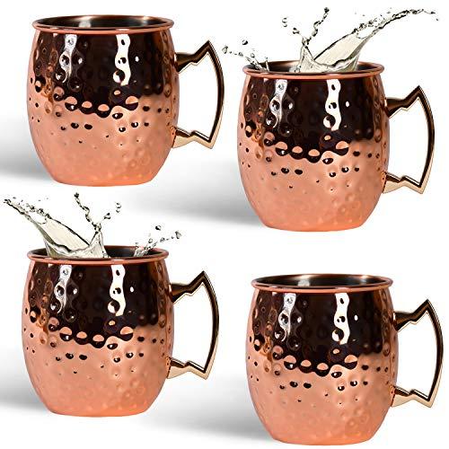 NATUMO Moscow Mule - Juego de 4 tazas de cobre de 500 ml con asa, doble pared