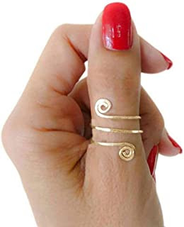 California Toe Rings 14k Gold Filled Double Swirl Wire Wrap Faceted Adjustable Thumb Ring