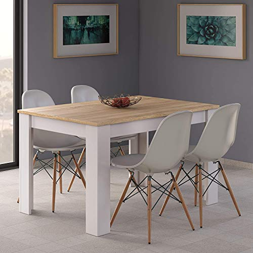 HABITMOBEL Conjunto Sillas con Mesa de Comedor Extensible, Medidas: 140-190 cm (Largo) x 90 cm (Ancho) x 78 cm (Alto)
