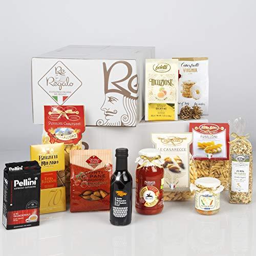 RE REGALO DISPENSA 12 prodotti Cioccolato, Gelatine di frutta, Canestrelli, Passata di pomodoro, Zuppa di farro, Pasta di semola, Giardiniera, Aceto balsamico, Caffè Pellini e altro, Alta Qualità