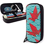 Estuche Lápices Cranes Origami Scales Waves Cute Pen Pencil Case Leather 8 X 3.5 X 1.5 Inch Pouch Bag Pencil Case with Double Zipper Holder Box for School Office Girls Boys Adults