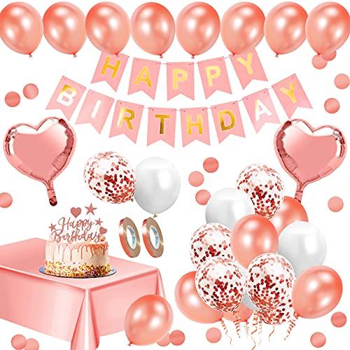 Decoración de fiesta para adultos, decoración de cumpleaños para mujeres, globos de cumpleaños, decoración de látex masculina y femenina, decoración de cumpleaños clásica (Oro rosa)
